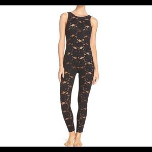 Free People Lace Ankle length black lace jumpsuit
